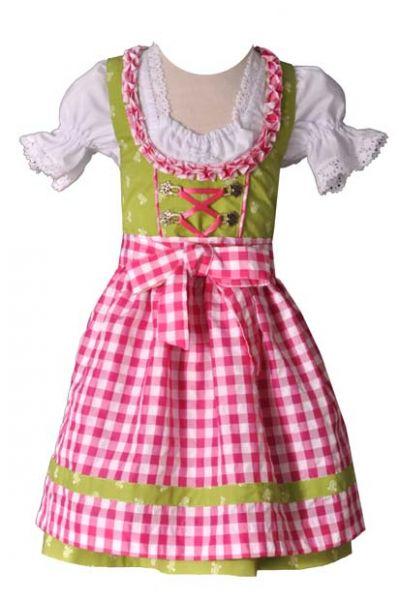 Kinderdirndl Emma grün pink 3-tlg. Trachtenset