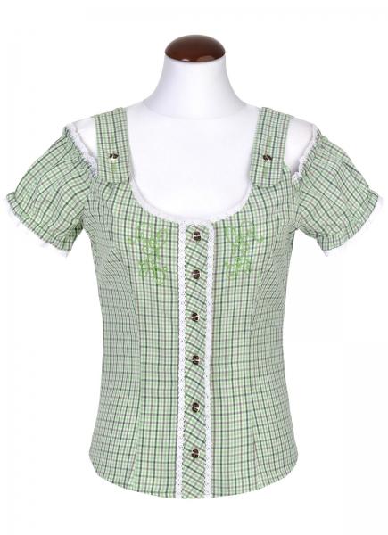 Trachtenbluse Eupen grün Carmenstil Spieth & Wensky