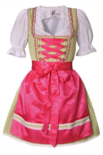 Dirndl mini 50 cm Regine apfelgrün/pink Trachtenset 3-tlg. Bayer Madl