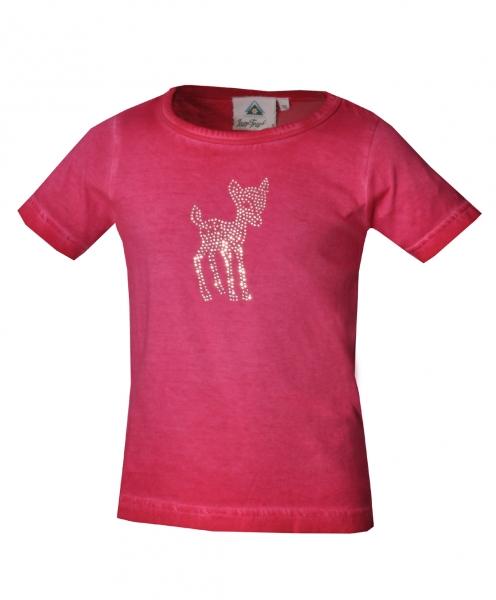 Kinder Trachten T-Shirt Hohenwarth pink Kurzarm Isar-Trachten Trachtenshirt