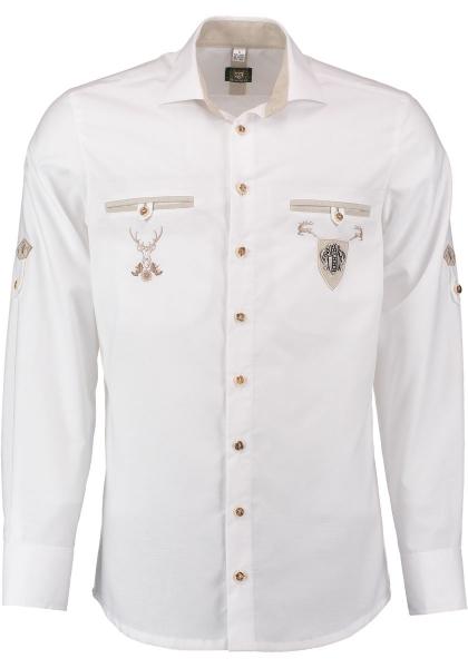 Trachtenhemd Kirmbach weiß Krempelarm OS Trachten