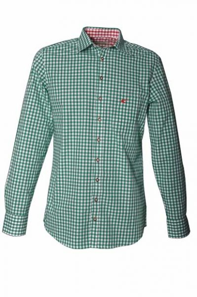Trachtenhemd John grün Karo Langarm OS Trachten