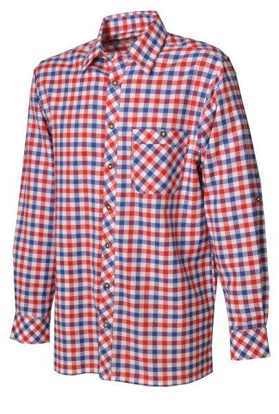 Trachtenhemd Adam kobalt/rot Krempelarm Lekra