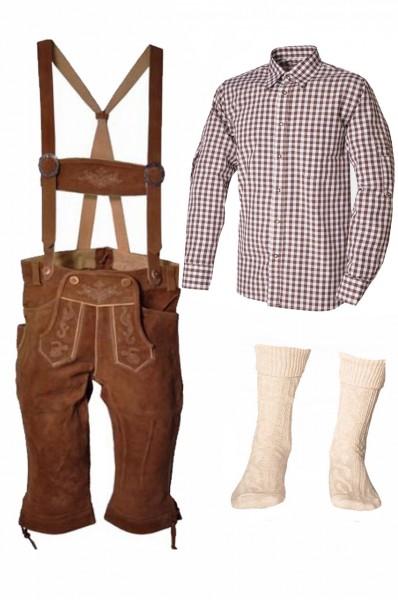 Trachtenlederhosen-Set 4-tlg. Kniebund hellbraun mit braunem Hemd