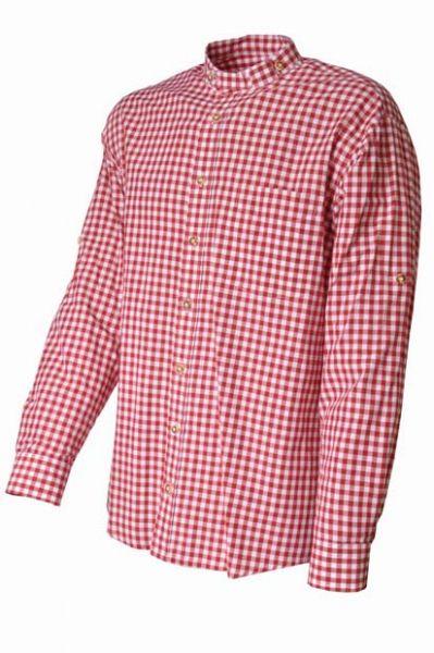 Trachtenhemd Werner Karo rot Stehkragen von OS Trachten