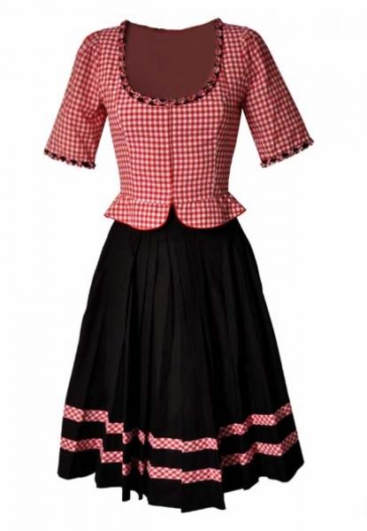 Trachtenkleid Trachten Kostüm 2 tlg. Rock Mieder 65 cm Anika rot/schwarz Melega