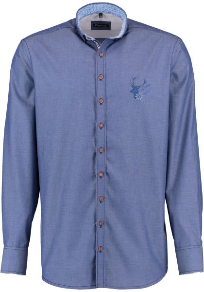 Trachtenhemd Röllbach marine blau Gipfelstürmer Langarm Slim Fit OS Trachten