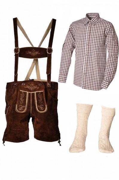 Trachtenlederhosen-Set 4-tlg. kurz braun mit braunem Hemd