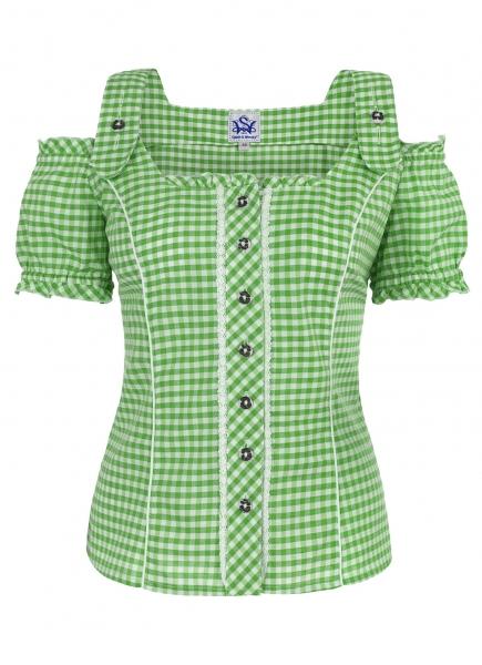 Trachtenbluse Pilla grün Karo Spieth & Wensky