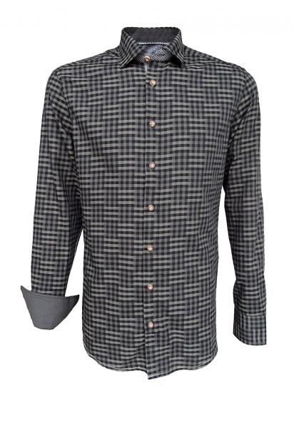 Trachtenhemd Weigendorf oliv karo Slim Fit OS Trachten
