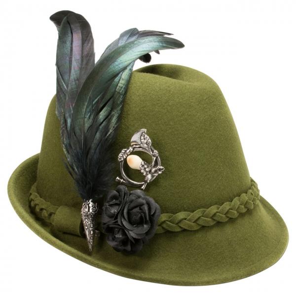 Trachtenhut Trachten Hut mit Feder Riekofen grün