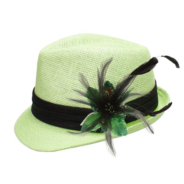 Trachten-Strohhut hellgrün Feder-Clip grün