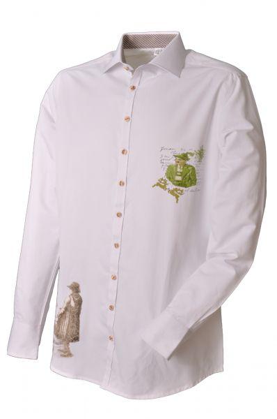 Trachtenhemd Steffen weiß/grün/braun OS Trachten