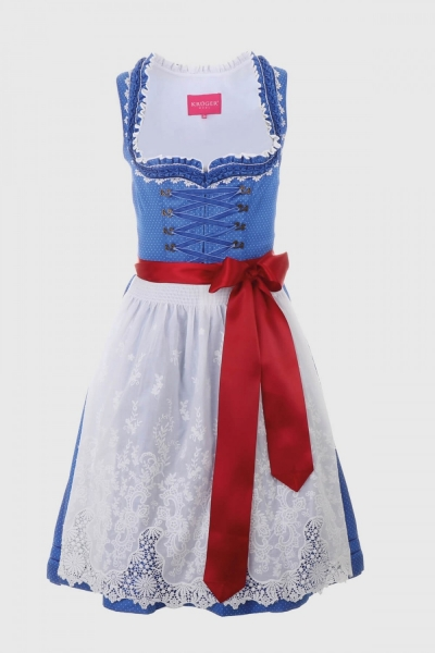 Dirndl midi 60 cm Cheyenne blau weiß Krüger