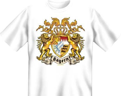Trachtenshirt Wappen Bayern weiss T-Shirt