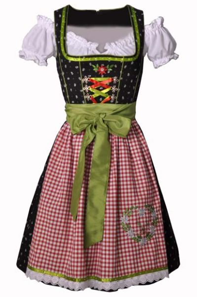 Dirndl midi 60 cm Anja schwarz/rot/grün Fuchs