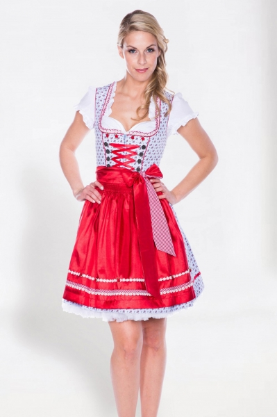 Dirndl mini 50 cm Dolly Bird hellblau/rot Krüger