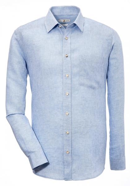 Trachtenhemd Oberdachstetten blau hellblau Langarm Leinen Almsach