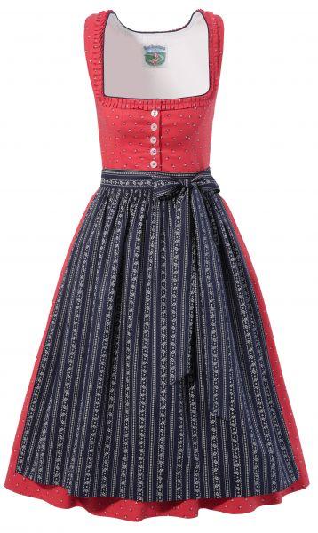 Dirndl midi 65 cm Bärbel rot blau Turi Landhaus