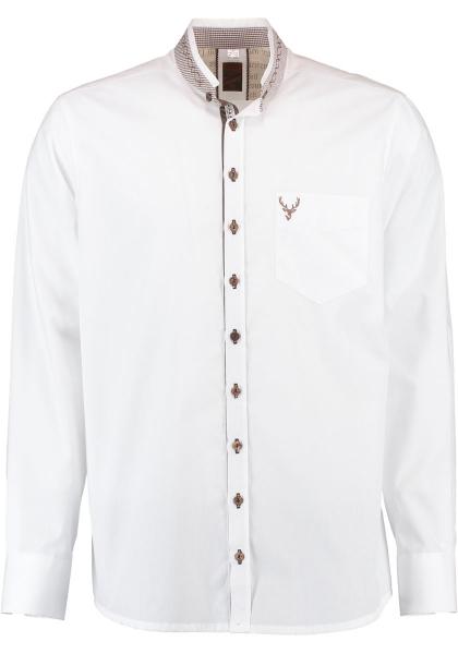 Trachtenhemd Neustett weiß Langarm Slim Fit OS Trachten
