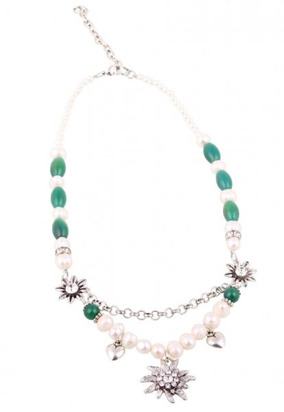 Dirndlkette Heretsried Edelweiß grün Perlen
