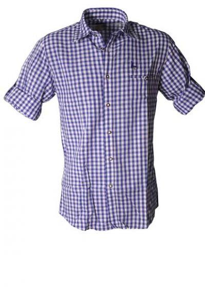 Trachtenhemd Joseph blau Karo mit Hirschkopf Herrenhemd von Kitzo Alpen