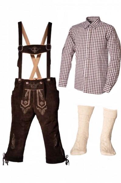 Trachtenlederhosen-Set 4-tlg. Kniebund dunkelbraun mit braunem Hemd