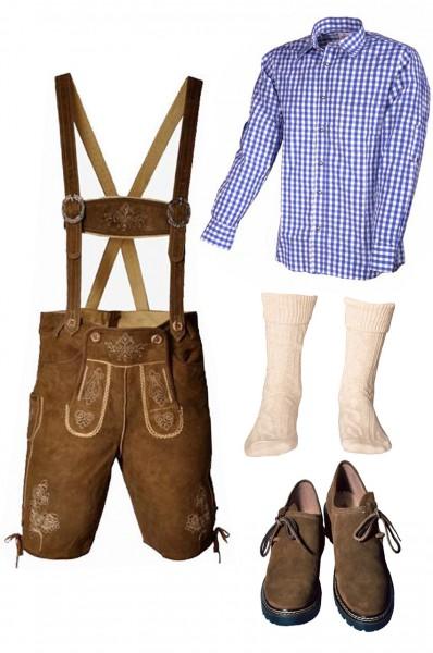 Trachtenlederhosen-Set 5-tlg. kurz hellbraun mit blauem Hemd und Schuhen von Fuchs
