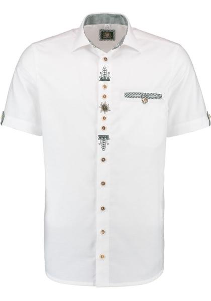 Trachtenhemd Prebitz weiß Kurzarm Stickerei OS-Trachten
