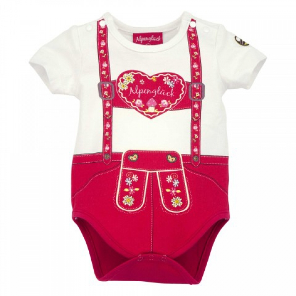 Baby Trachtenbody Alpenglück weiß rot Bondi