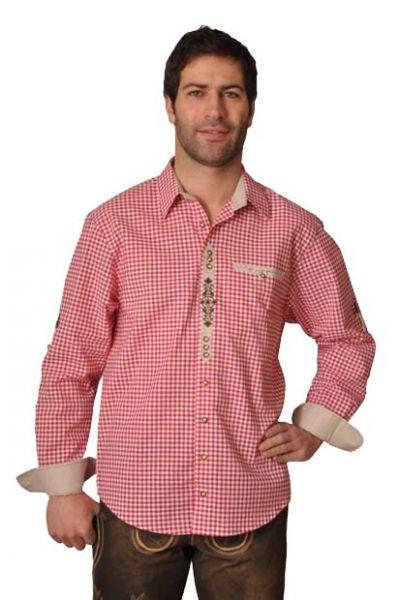 Trachtenhemd Bertrand mittelrot Krempelarm OS-Trachten