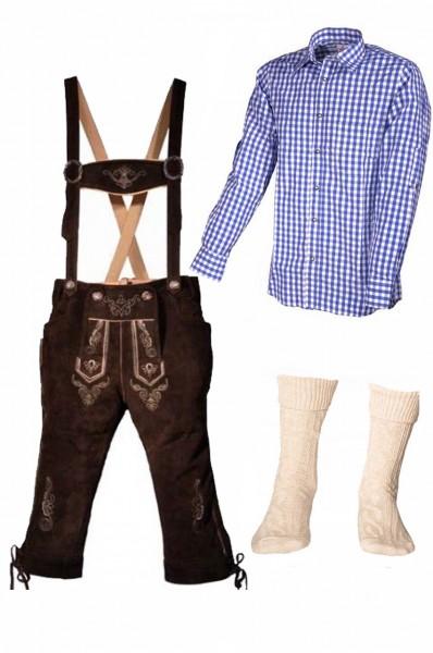 Trachtenlederhosen-Set 4-tlg. Kniebund dunkelbraun mit blauem Hemd