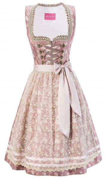 Dirndl Designerdirndl midi 60 cm Lale rosa taupe Spitzenschürze Krüger