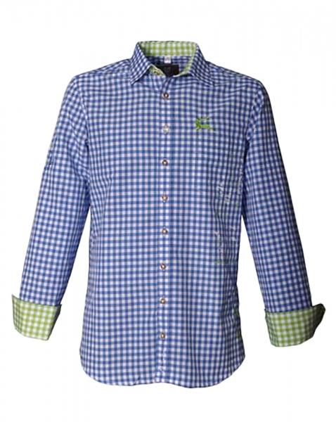 Trachtenhemd Gerald blau/grün Karo OS Trachten