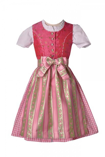 Kinderdirndl Dilara grün/rosa 3-tlg. Isar Trachten