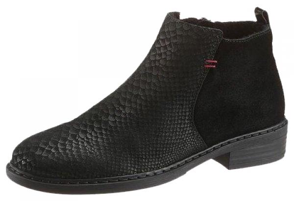 Stiefeletten Ankle Boots Grainet schwarz geprägtes Leder Rieker