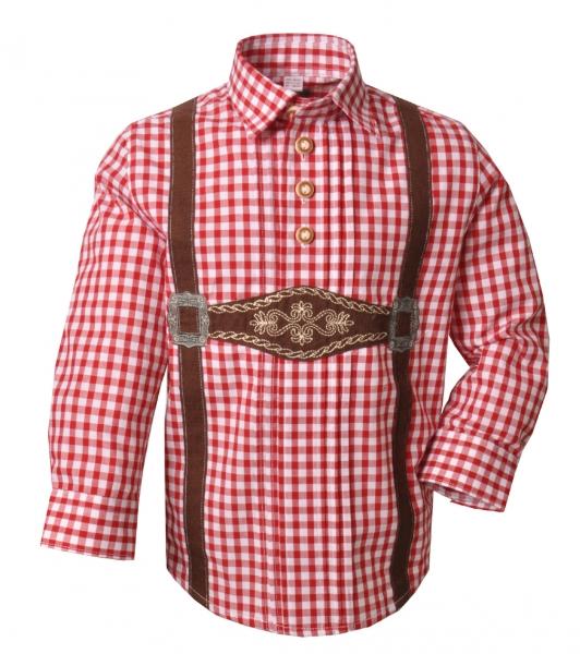 Kinder Trachtenhemd Polling rot Karo Schlupfhemd Langarm OS Trachten