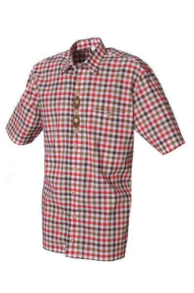 Trachtenhemd Bidingen rot/grün Kurzarm OS Trachten