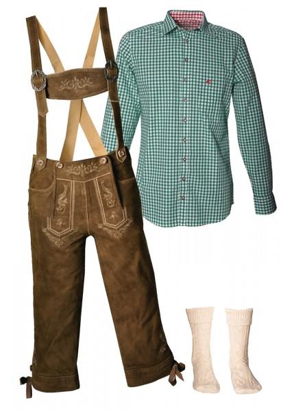 Trachtenlederhosen-Set 4-tlg. Kniebund torf antik von Stockerpoint mit grünem Hemd von OS Trachten