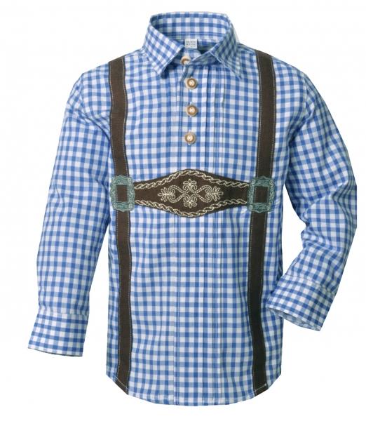Kinder Trachtenhemd Polling blau Karo Schlupfhemd Langarm OS Trachten