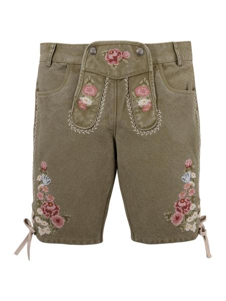 Textilhose Trachtenjeans Bermuda Jeans Luise grün Krüger