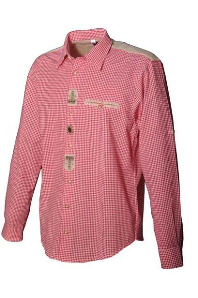 Trachtenhemd Jasper rot Karo Langarm OS Trachten