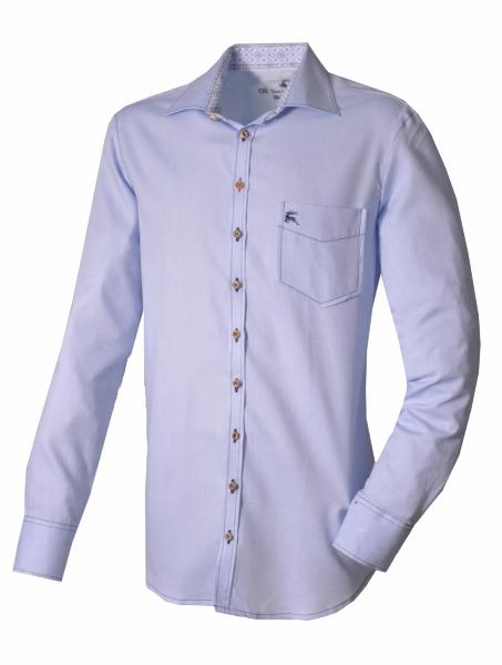 Trachtenhemd Drachselsried blau Langarm OS Trachten