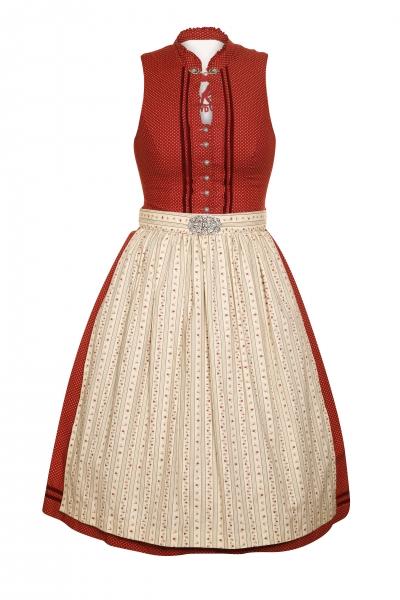 Dirndl midi 65 cm Lohberg rot beige Marjo Gwandlalm