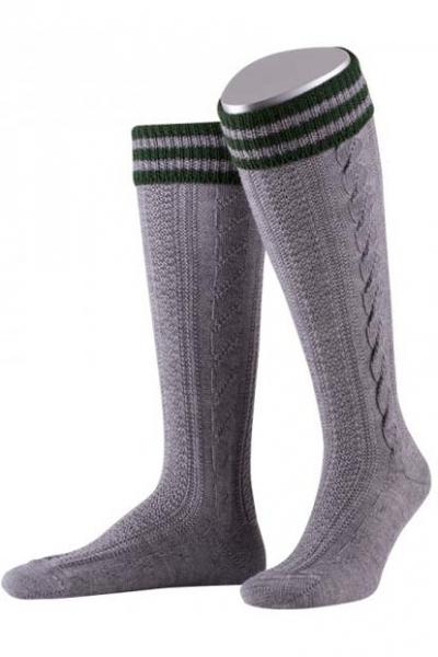 Trachtenkniebundstrumpf Socken grau/tanne handgezogender Zopf