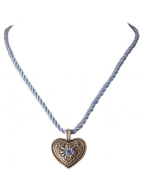 Dirndlkette Leidersbach hellblau blau Herz mit Edelweiß