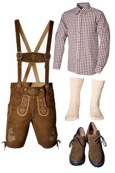 Trachtenlederhosen-Set 5-tlg. kurz hellbraun mit braunem Hemd und Schuhen von Fuchs
