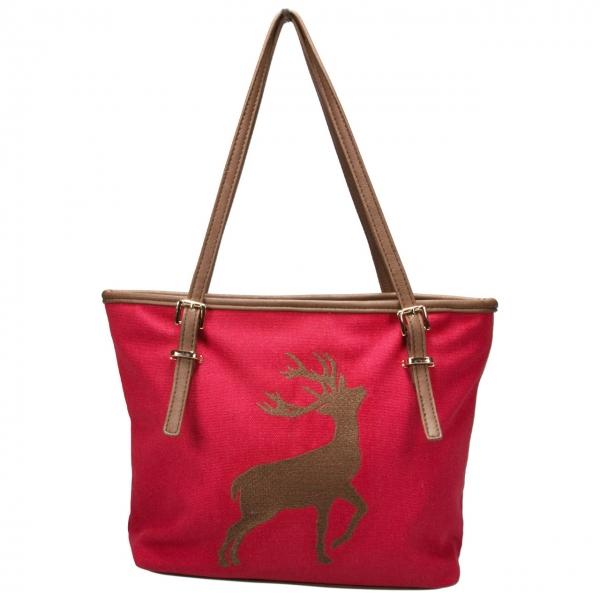 Trachten Handtasche Hirschstickerei rot