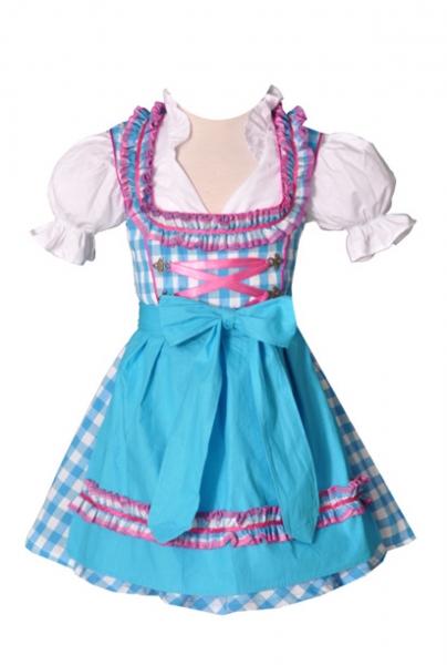 Kinderdirndl Carolin türkis/pink Set 3-tlg. Bayer Madl