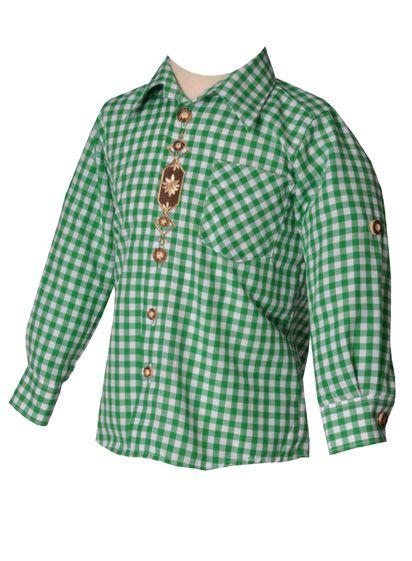Kinder Trachtenhemd Fabio trachtengrün langarm OS-Trachten